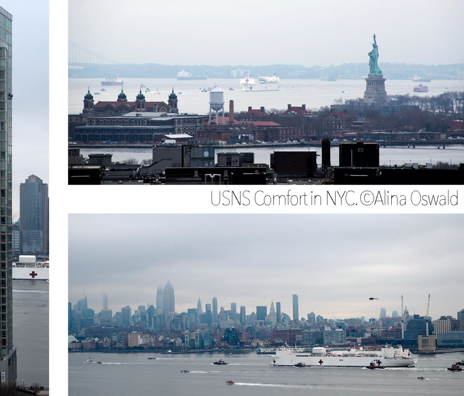 USNS Comfort arrives in NYC. ©Alina Oswald