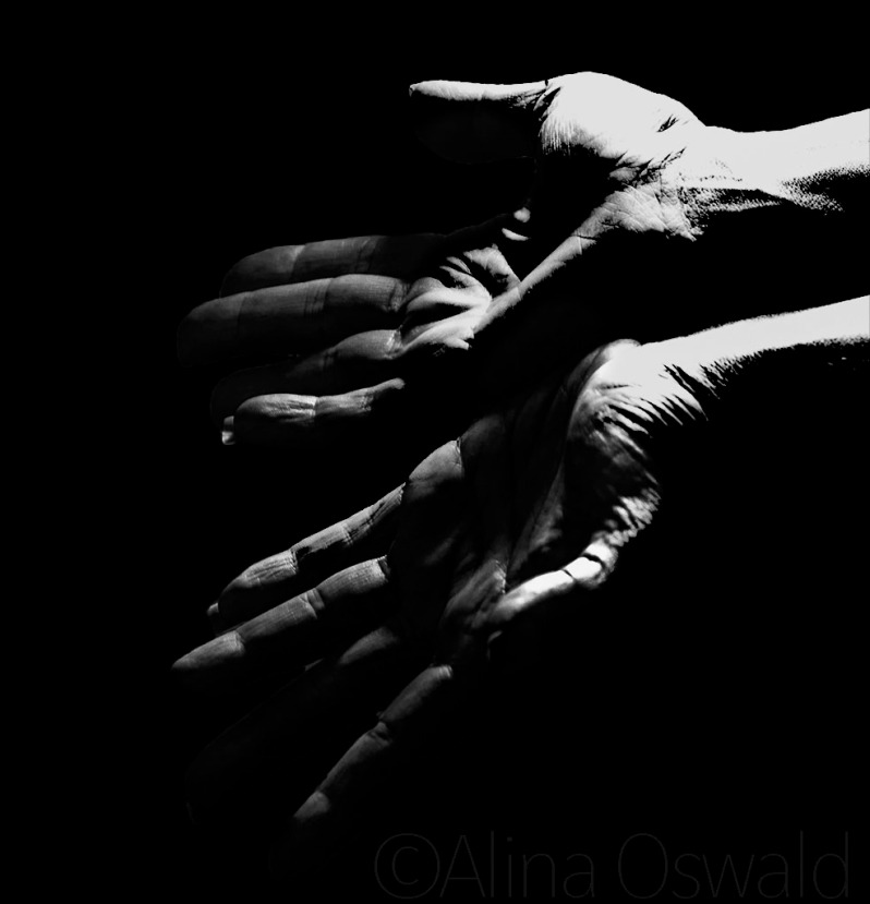 Slipping Through My Fingers. Hand self-portrait in black and white. ©Alina Oswald.