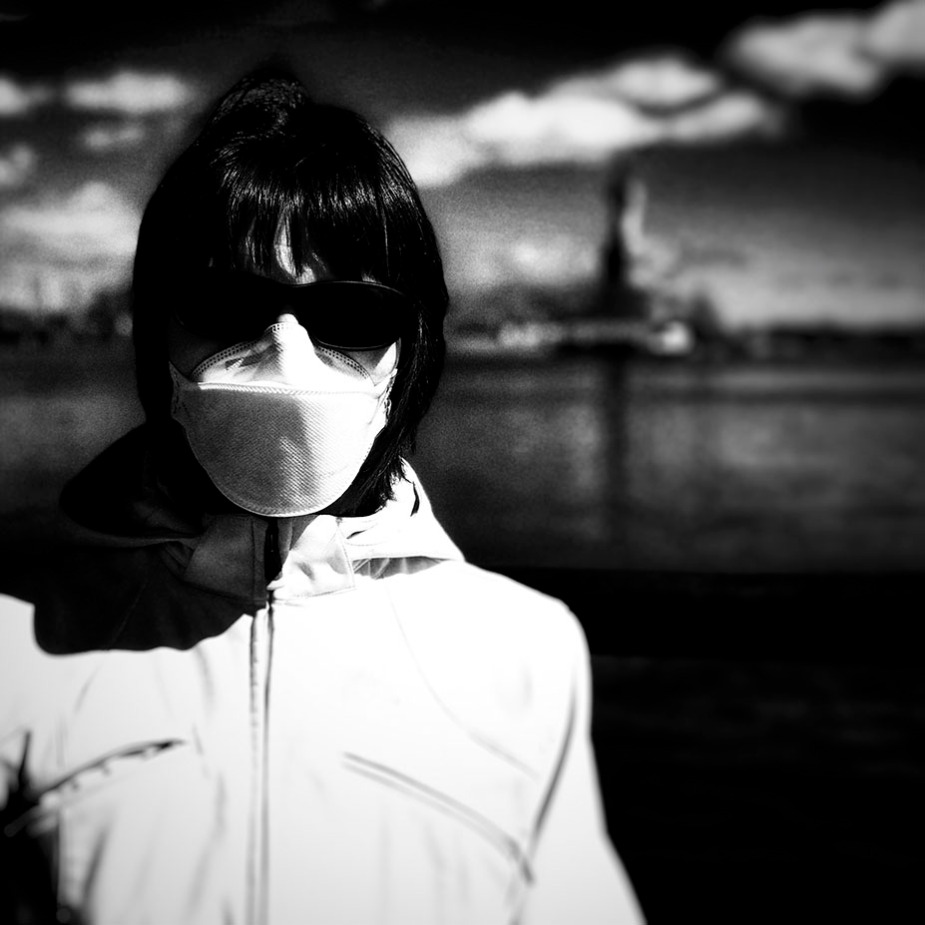 Me, my mask and Miss Liberty. Black-and-white photography.