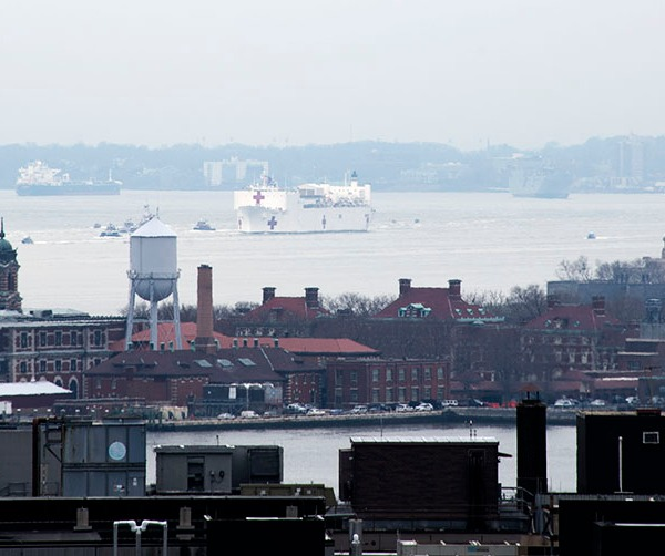 Covid-19 USNS Comfort hospital ship arrives in NYC. ©Alina Oswald.