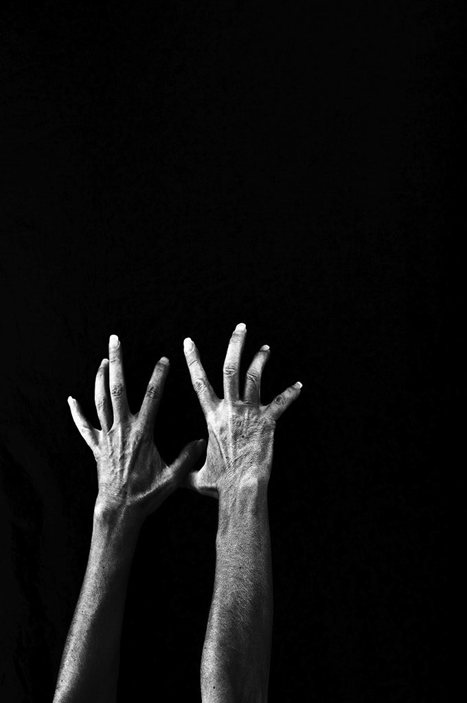 """No Surrender"" A hand self-portrait in black and white. ©Alina Oswald."