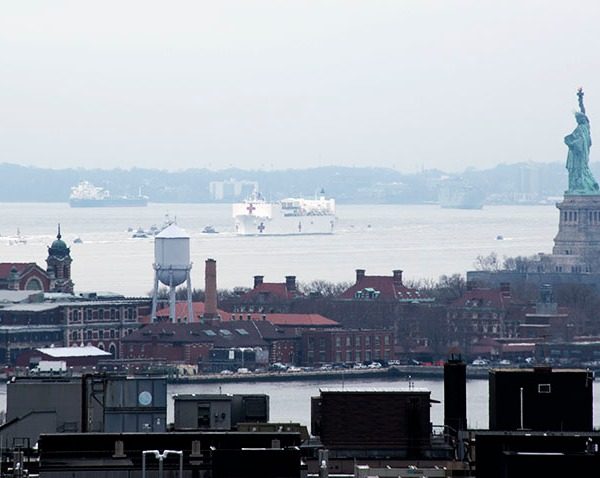 Covid-19 USNS Comfort hospital ship arrives in NYC.