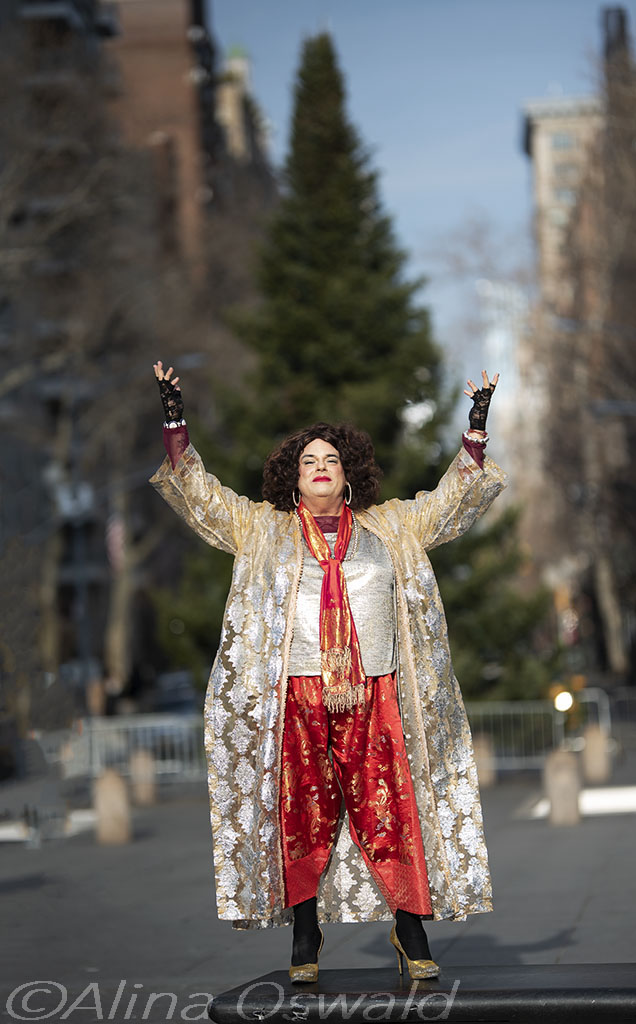 Rev. Yolanda photographed in NYC's Washington Square Park, for A&U Magazine—America's AIDS Magazine. ©Alina Oswald.