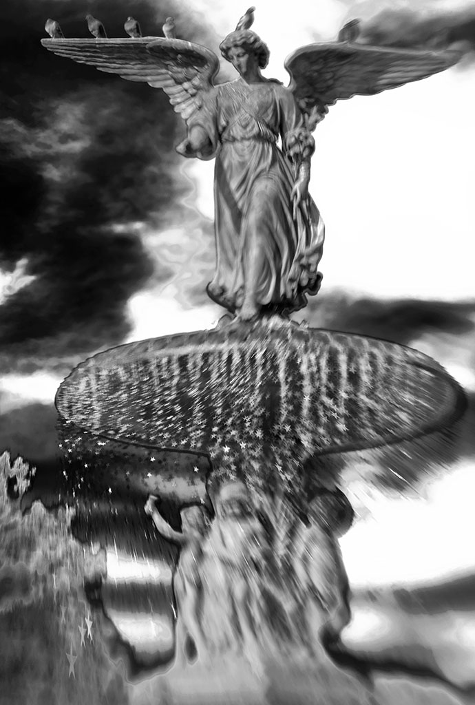 """""""Angel in Central Park"""" - lensbaby b&w image of the Bethesday Angel (statue) in Central Park. Inspired by the movie Angels in America. ©Alina Oswald"""