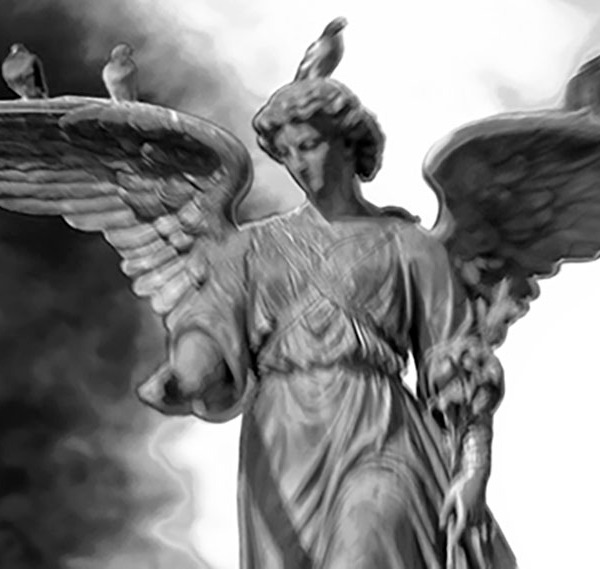 """Angel in Central Park"" - lensbaby b&w image of the Bethesday Angel (fountain statue) in Central Park. Inspired by the movie Angels in America. ©Alina Oswald"