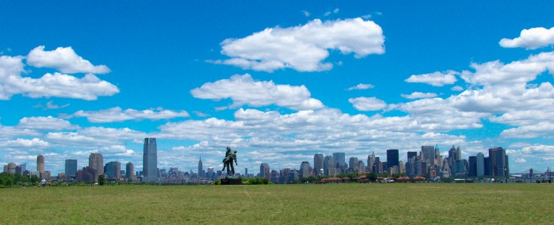 Views of Jersey City and New York City from Liberty State Park South lawn. Pano photo ©Alina Oswald.