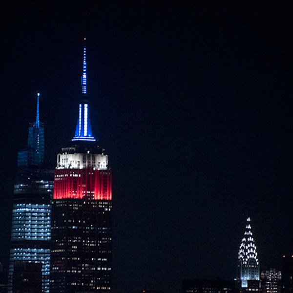 NYC in red white & blue colors to celebrate President Elect Joe Biden and VP Elect Kamala Harris