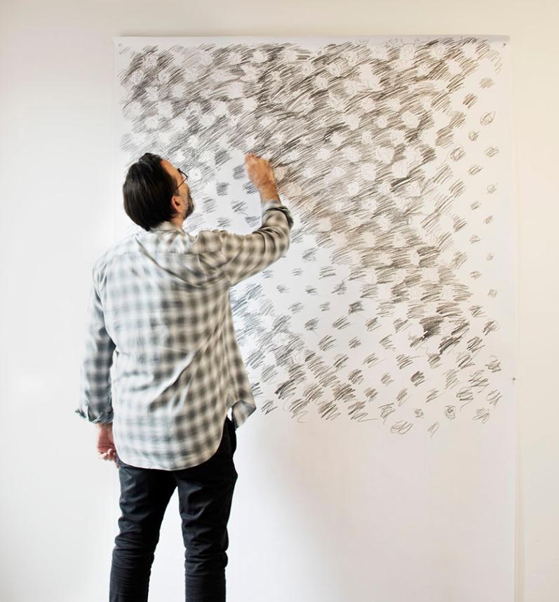 Avram Finkelstein in his artist studio at Pioneer Works, in Brooklyn, NY, working on a sketch for his work commissioned by The Shed for its opening exhibition. Photographed exclusively for A&U Magazine.