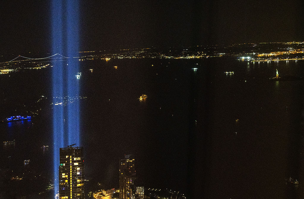 9/11 Tribute in Light over NYC and NY Harbor. ©Alina Oswald.
